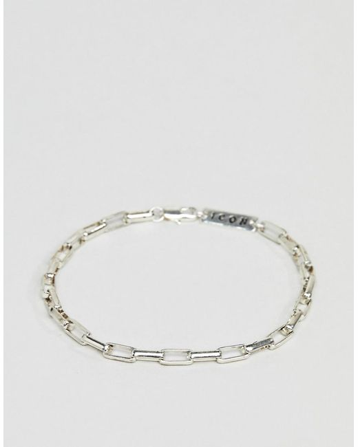 Icon Brand - Metallic Chain Bracelet In Silver for Men - Lyst