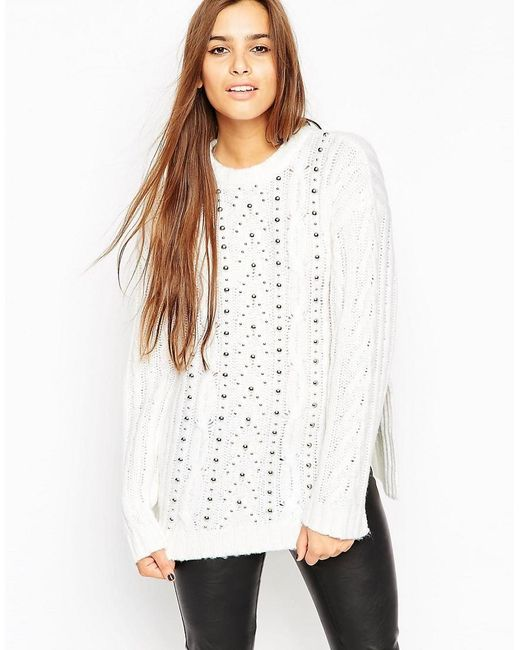ASOS | White Oversized Cable Jumper With Stud Detail | Lyst