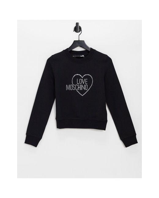 Черный Свитшот С Логотипом Из Стразов Love Moschino, цвет: Black