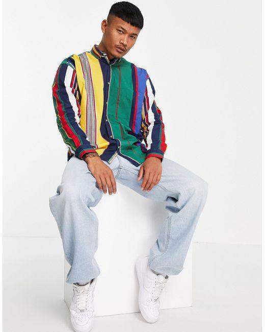 Oversized-рубашка В Стиле 90-х В Ретро Полоску В Университетском Стиле ASOS для него, цвет: Green