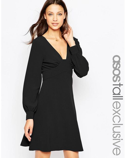 ASOS | Black Tall 70's Plunge Mini Dress With Long Sleeves | Lyst