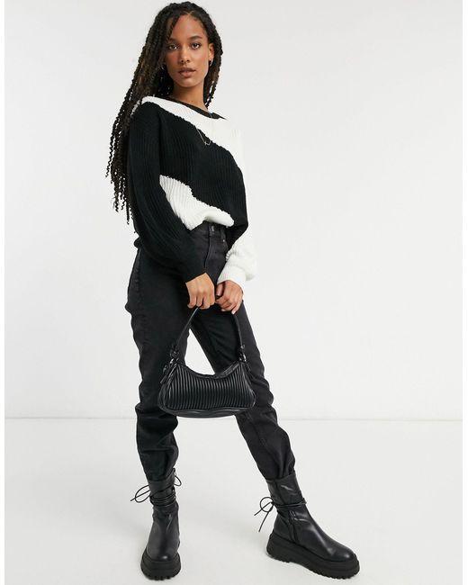 Черно-белый Джемпер В Стиле Колор-блок -мульти AX Paris, цвет: Black