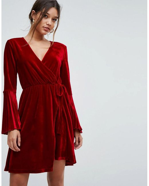 aaa829de7186 Aeryne - Red Velvet Wrap Dress With Pleated Sleeves - Lyst ...