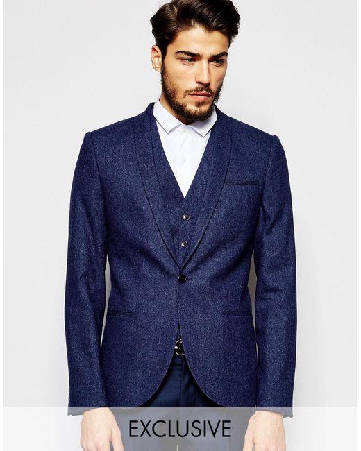Noak   Blue Wool Blazer In Super Skinny Fit With Fleck for Men   Lyst