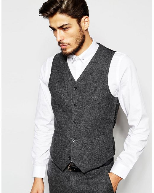ASOS | Gray Slim Vest In 100% Wool for Men | Lyst