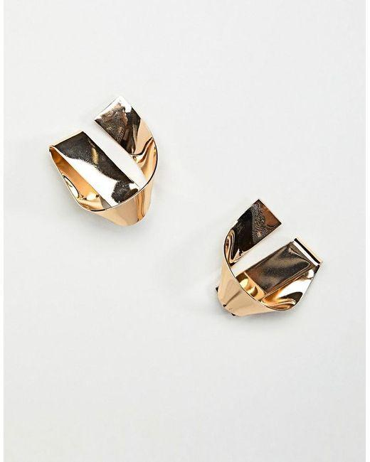 ASOS - Metallic Stud Earrings In Folded Knot Design In Gold - Lyst