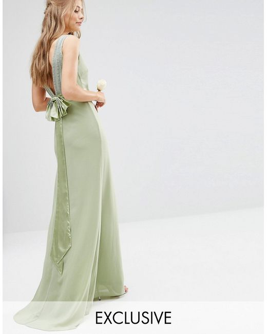 Tfnc London Wedding Bow Back Embellished Maxi Dress In Green Sage