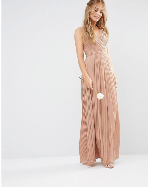 Tfnc london wedding pleated wrap maxi dress in beige for Tfnc wedding wrap maxi dress