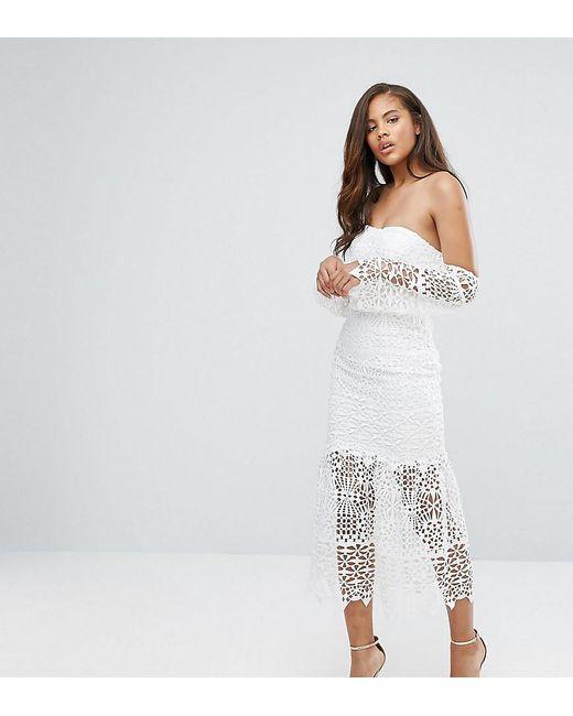 Jarlo - White Bardot Cutwork Lace Midi Dress - Lyst