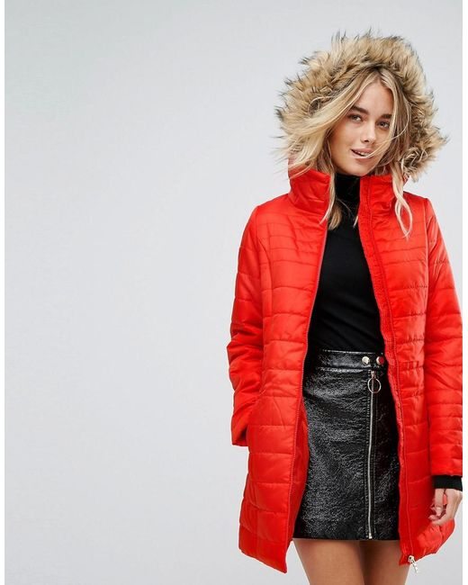 vero moda padded parka with faux fur hood in red lyst. Black Bedroom Furniture Sets. Home Design Ideas