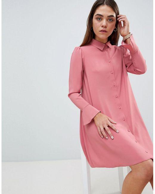 ab4bb89424d ASOS - Pink Long Sleeve Mini Shirt Dress - Lyst ...