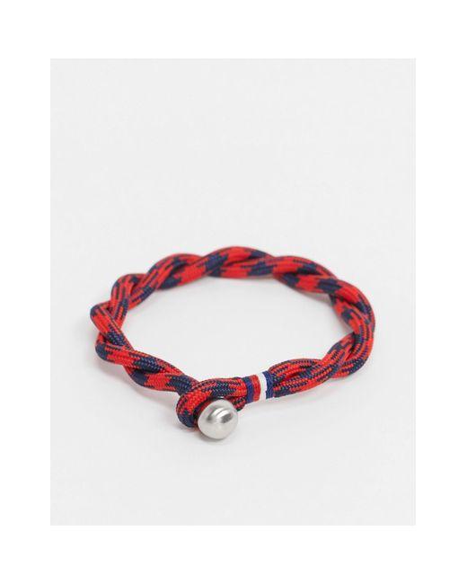 Красно-синий Плетеный Браслет -красный Tommy Hilfiger для него, цвет: Red
