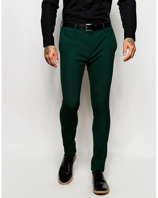Asos Super Skinny Suit Trousers In Green in Green for Men - Save ...