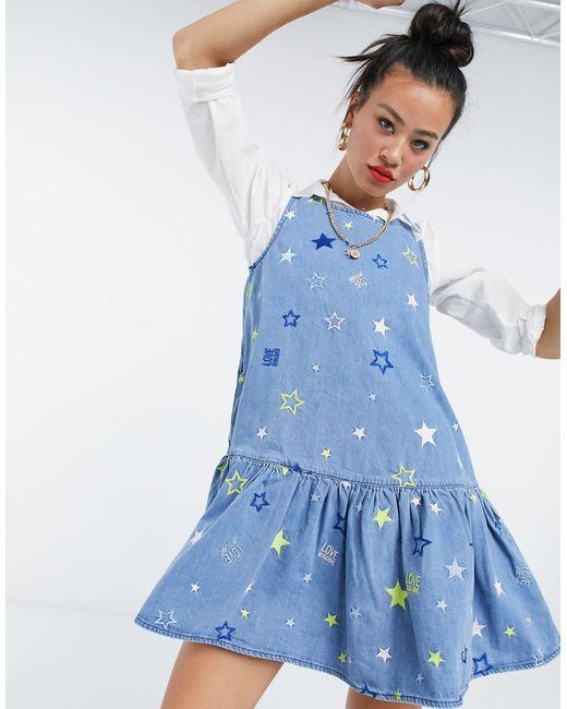 Синее Свободное Платье С Принтом В Виде Звезд -голубой Love Moschino, цвет: Blue