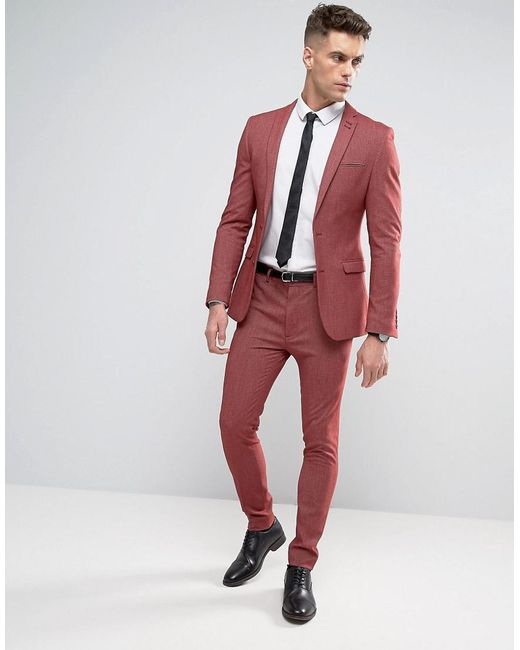 Asos Super Skinny Suit Jacket In Red Twist in Red for Men | Lyst