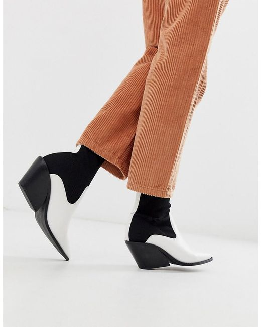 ASOS Rekindle - Western Sock Boots In Wit in het Multicolor
