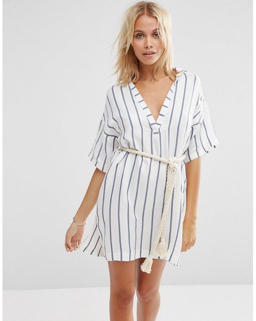 ASOS | Black Stripe Rope Belted Beach Shirt Dress | Lyst