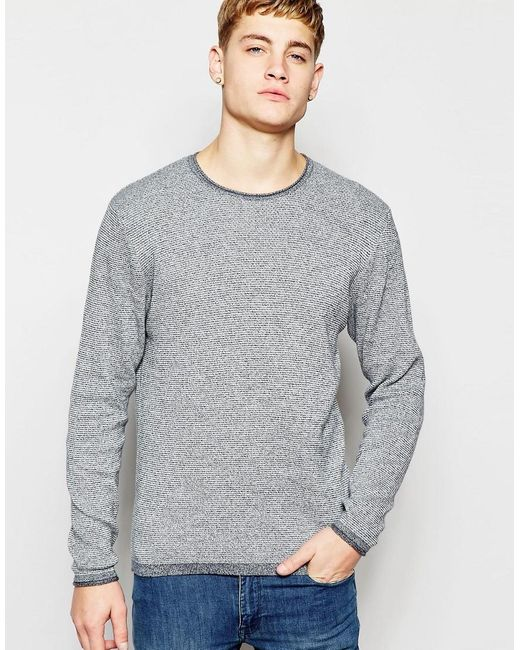 Jack & Jones   Blue Knitted Jumper In Mixed Yarns for Men   Lyst