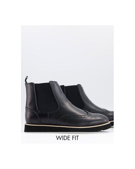 Черные Ботинки Челси В Стиле Casual Для Широкой Стопы -черный Цвет Truffle Collection для него, цвет: Black