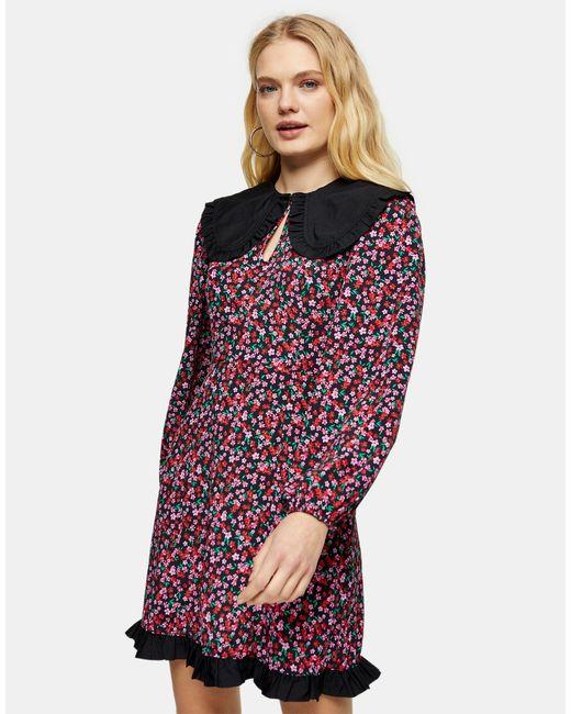 TOPSHOP Multicolor Oversized Collar Mini Tea Dress