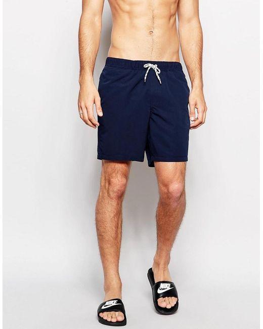 ASOS | Blue Swim Shorts In Navy Mid Length for Men | Lyst