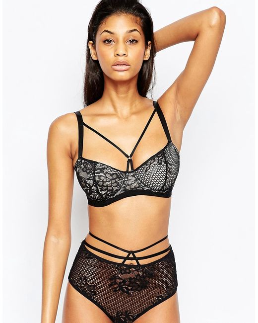 ASOS | Black Fuller Bust Patsy Fishnet Lace Caged Underwire Bra | Lyst