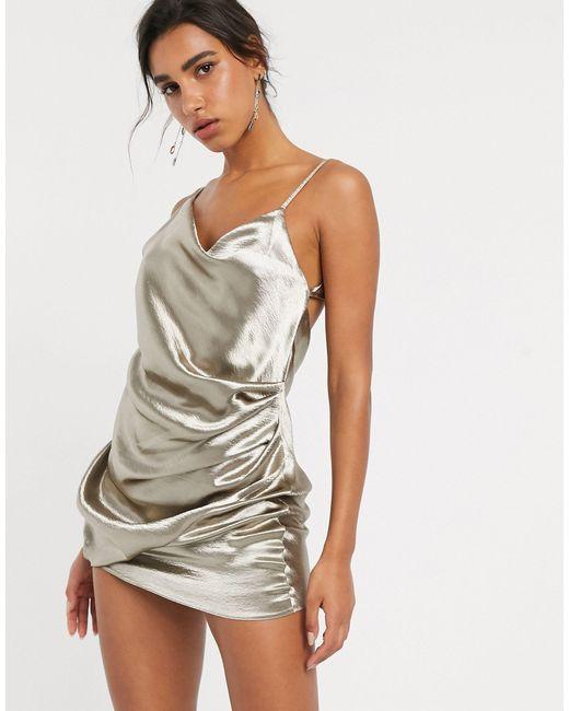 Платье-комбинация Мини Из Блестящего Атласа ASOS, цвет: Multicolor