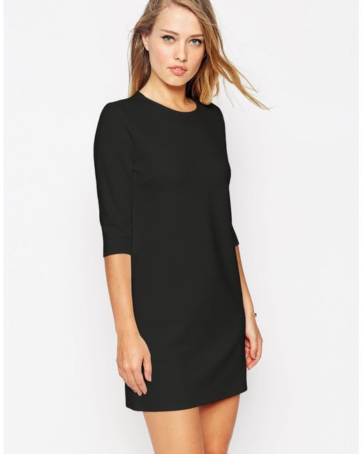 ASOS | Black Shift Dress In Ponte With 3/4 Sleeves | Lyst