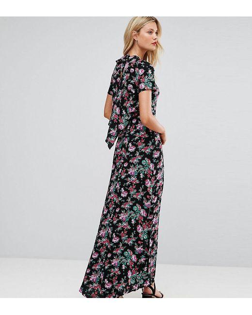 ASOS Maxi-jurk Met Opengewerkte Rug In Bloemenprint in het Black