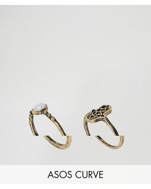 ASOS - Metallic Pack Of 2 Hamsa Hand And Pretty Stone Rings - Lyst