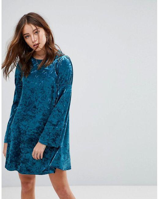 Glamorous Blue Long Sleeve Swing Dress In Crushed Velvet