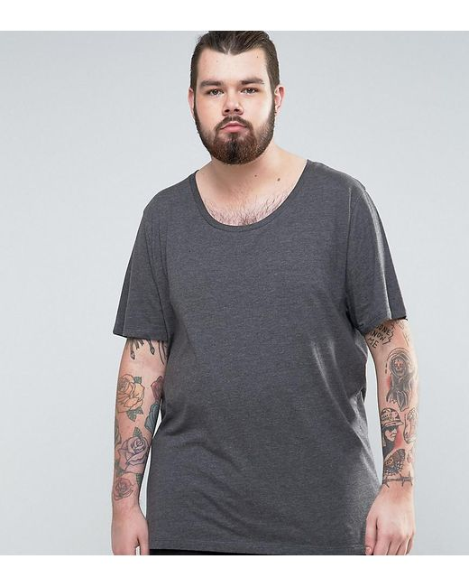 ASOS | Gray Plus Longline T-shirt With Scoop Neck for Men | Lyst