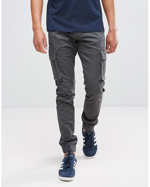 Only & Sons | Gray Cargo Pant With Cuffed Hem for Men | Lyst
