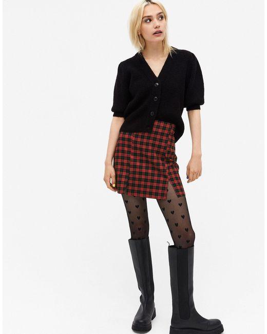 Мини-юбка В Черно-красную Клетку Renata-черный Monki, цвет: Multicolor