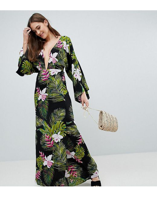 dbd9859b235a ASOS - Multicolor Asos Design Tall Dark Tropical Palm Print Long Sleeve  Plunge Beach Maxi Dress ...