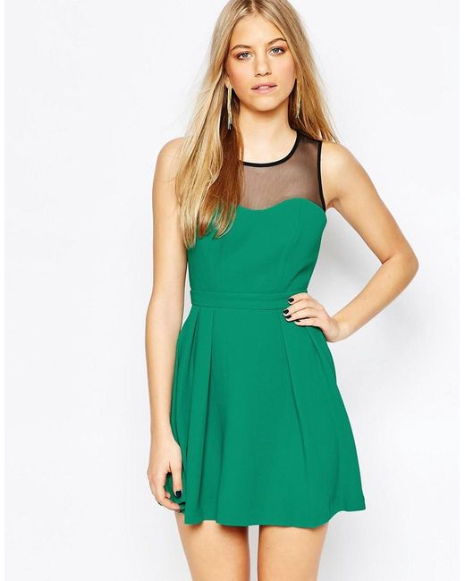 BCBGeneration   Green Sweet Heart Mini Dress In Emerald   Lyst