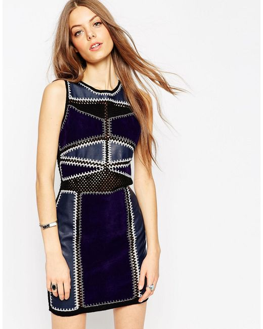 ASOS | Black Bodycon Dress In Patchwork Pu/suedette And Crochet - Multi | Lyst