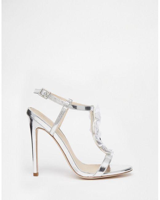 Asos Hottie Embellished Heeled Sandals in Metallic | Lyst