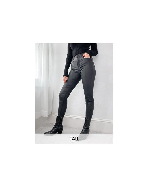 New Look Black Faux Leather Coated Lift And Shape Skinny Jeans
