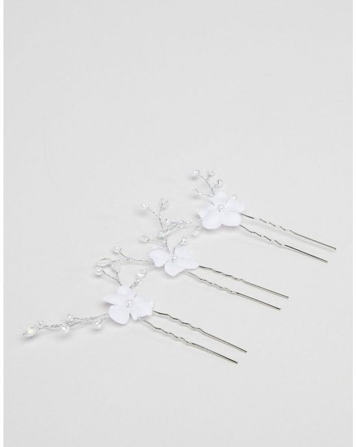 DESIGN Bridal Pack Of 3 Floral Crystal Bead Hair Clips - Silver Asos szs9qyc