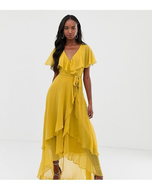 3df9c856fcf ASOS - Yellow Asos Design Tall Maxi Dress With Cape Back And Dipped Hem -  Lyst ...