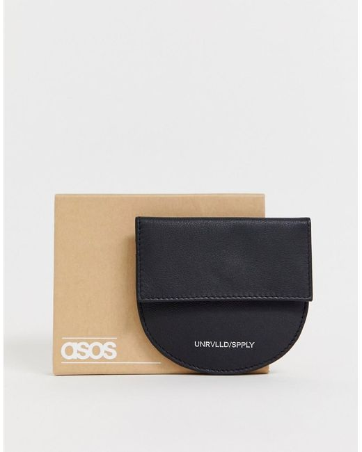 ASOS Leather Half Circle Cardholder And Coin Purse In Black for men
