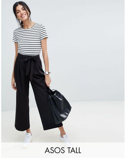 Falda pantalón con lazada a la cintura mix & match ASOS de color Black