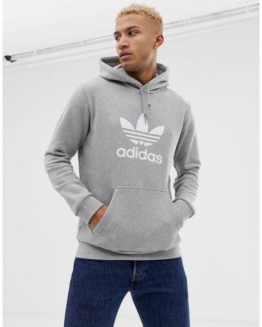 Felpa grigia con cappuccio e trifoglio di Adidas Originals in Gray da Uomo
