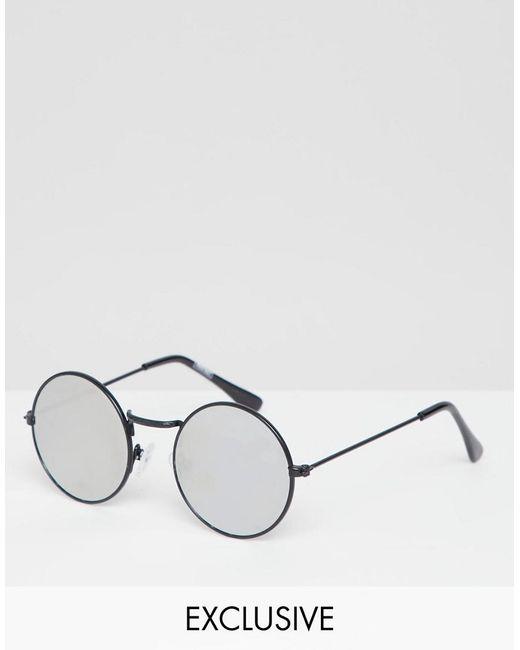 Reclaimed (vintage) - Black Lunettes de soleil rondes avec verres effet  miroir for Men ... 9b85900a724b