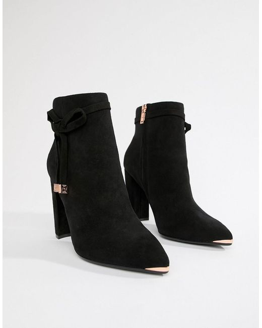 f39a646a9cf Women's Black Suede Heeled Ankle Boots With Bow