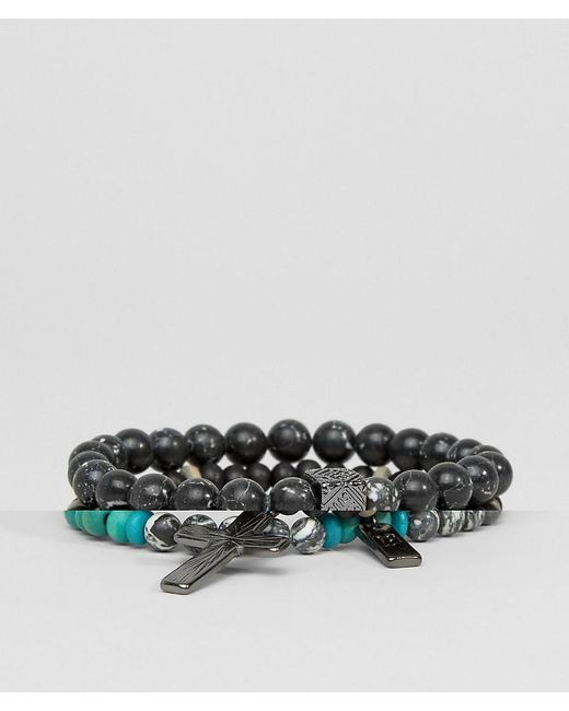 Icon Brand | Multicolor Cross Beaded Bracelet Pack for Men | Lyst