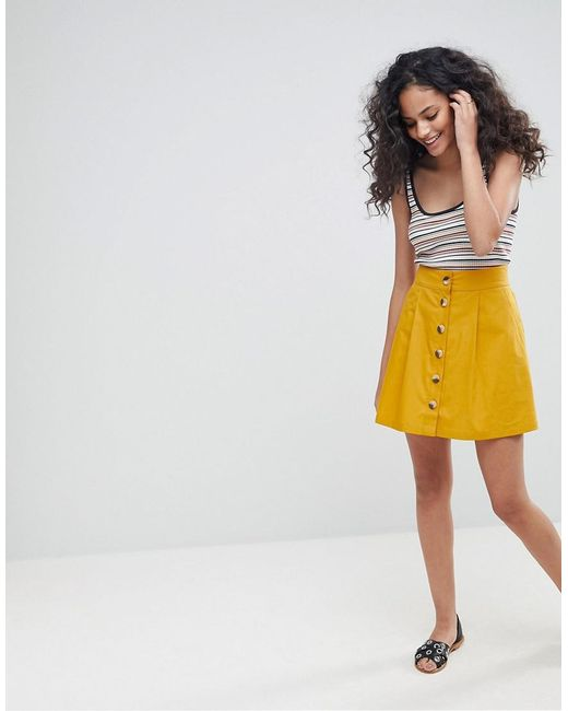 ASOS - Yellow Cotton Mini Skater Skirt With Button Front - Lyst