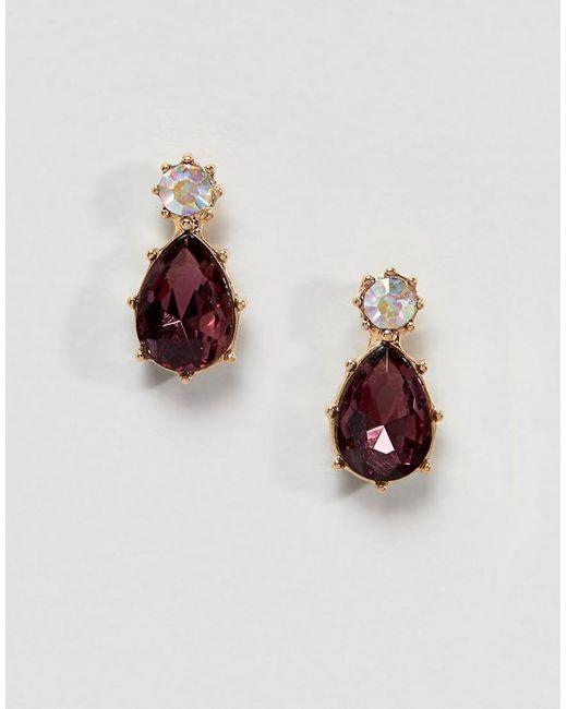 ASOS - Purple Twinkle Stone Jewel Earrings - Lyst