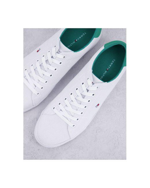 Белые Кроссовки С Трикотажным Верхом, Зелеными Вставками И Фирменным Флагом -белый Tommy Hilfiger для него, цвет: White